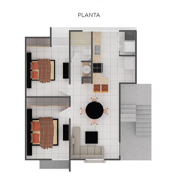 Plano planta departamento cedro Jardínes del Sur Cancún