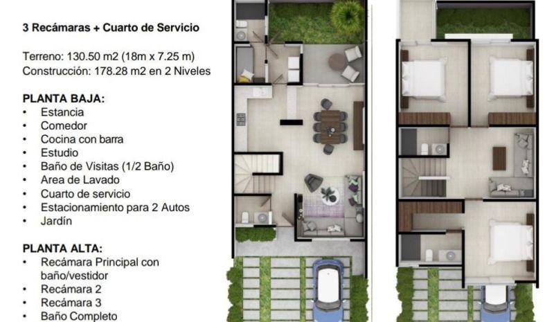 VENDO TOWNHOUSE NUEVO EN CANCUN-AVD.HUAYACAN. 3REC+CUARTO SERVICIO, 3.5 BAÑOS